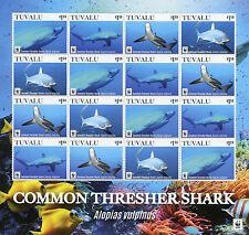 Tuvalu 2016 MNH Common Thresher Shark WWF 16v M/S Marine Sharks Fish Stamps