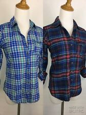 LOT OF 2 A&F ABERCROMBIE & FITCH WOMENS XS/XXS PLAIDS CHECKS BUTTON SHIRTS A90