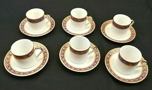 Cup and Saucer Set 12 piece Italy Purple and Gold Trim Demitasse