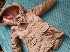 12-18 months girl winter hooded coat jacket brown shiny from f&f
