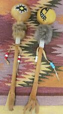 St. Joseph's Indian School Lakota Sioux Hand Crafted Rattles W/Medal (2) Vintage