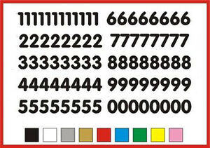 STICKY NUMBERS 0 to 9 Rounded 20mm OR 25mm high vinyl set - any colour