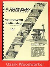 "POWR-KRAFT 10"" Radial Arm Saw TPC-2300B Instructions & Parts Manual 0562"