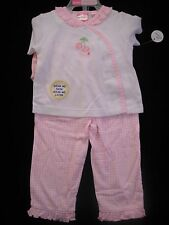 NEW baby girls 3 PIECE CHERRY OUTFIT set PANTS shorts PINK WHITE gift 6/9 months
