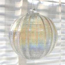 "Hanging Glass Ball 4"" Diameter Clear AB Ridged Friendship Ball (1) HGB13"