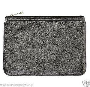 NEW Banana Republic Silver Leather Tablet Ipad Clutch Envelope Zip Purse $79 NWT