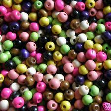ASSTD Wooden CRAFT BEAD 10mm round Beads Pk 500  Value pk W113