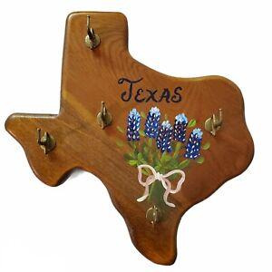 Handpainted Texas Shaped Wood Key Hook Hanger