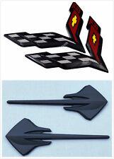Set Hood+Rear Bumper+Fender Corvette Black Carbon Flash Emblem STINGRAY 2014+ C7