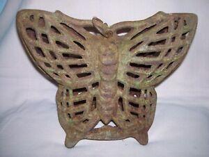 Old Vintage Original Cast Iron Butterfly Indoor Outdoor Lantern