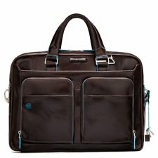 NWOT AUTH GRAY PIQUADRO Two Handle Portfolio Leather Briefcase with BLUE SQUARE