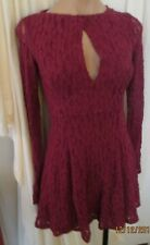 Free People Long Sleeve Stretch Lace Dress fitted w/peekaboo front in Wine, XS