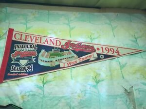 """Cleveland Indians Inaugural Season 1994 Pennant I Was There 11"""" x 29"""" Wincraft"""