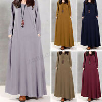 UK 8-24 ZANZEA Women Vintage Long Sleeve Full-length Long Cotton Dress Plus Size
