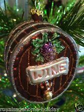 "W2427 Kurt Adler 3.5"" Wine Barrel Glass Ornament Christmas Grapes Vineyard"