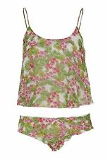 Peter Alexander PJ PYjamas Cami top + frilled knickers panty bottoms set M 12 14