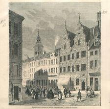 Voyage au Danemark rue du marché d'Amac et maison dite de Diveckte  GRAVURE 1862