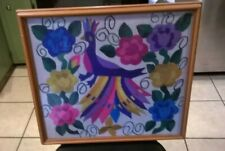 Vtg Crewel Framed Picture of Colorful Peacock Surrounded by Flowers 1990