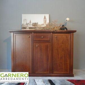 Credenza DIAMANTE Gihome ® mobile arte povera legno finitura noce made in Italy