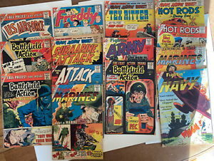 Lot of 14 Charlton CDC War, Hot Rods, Freddy, Western, etc 1959 and1960Comics