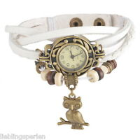 L/P Weiß Retro Lederarmbanduhr Armbanduhr Wickelarmband Eule Anhänger 21cm