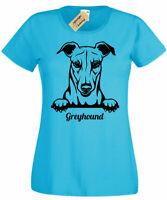 Womens Greyhound T-Shirt dog lover gift present ladies Top