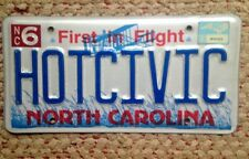 HONDA CIVIC NORTH CAROLINA VANITY PERSONALIZED LICENSE PLATE HOT COUPE COMPACT