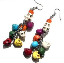 RAINBOW HOWLITE SKULL EARRINGS beaded chain cluster charm bead goth sugar U4