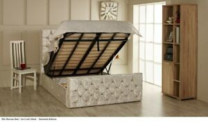 Ottoman Bed Frame Gas Lift Up Storage Bed Double/ King Size in Soft Plush Fabric