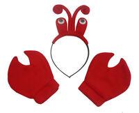 Lobster Headpiece Eyeballs Crab Claws Gloves Headband Kit Crawfish Hat Costume