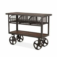 "48.5"" Industrial Utility Cart Reclaimed Teak Woods with Recycled Cast Iron"