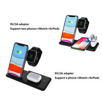4 in 1 15W QI Wireless Charger Dock Charge Station pour iPhone Air-Pods iWatch