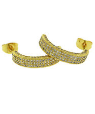 14K Gold Plated 1 Ctw Cubic Zirconia Hoop Earring Oro Laminado- Made in USA