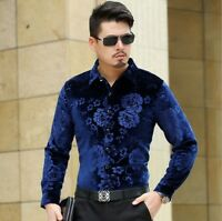 Mens Velvet Fannel Lined Shirt Soft Warm Floral Print Collared Casual Top Coat
