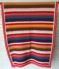 FANTASTIC Striped Crochet Blanket Afghan Retro Farmhouse Red Green Pink Blue EXC