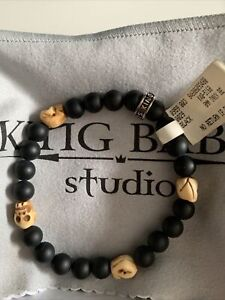King Baby Onyx And Sculls  Bracelet