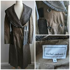 Micheal Ambers Long Brown Princess Coat 10 Steampunk Ribbon Tweed Fit and Flare