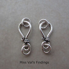 4 sterling silver Bali small hook eye clasp with rope