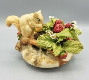 Vintage Weller Pottery Woodcraft Squirrel on Nut Bowl w/ Strawberries 1920-1933