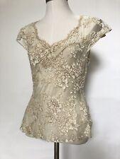 TEMPERLEY Beige Beaded Floral Lace Overlay Cap Sleeve V Neck Evening Top UK 12
