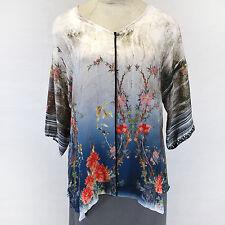 NEW NWT Citron Clothing Plus Size Birds 100% Silk Fukure V-Neck Tunic Blouse 2X