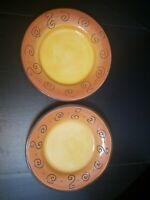 Ambrosia Extra Large Dinner Plates Set of 2 Tabletops Unlimited Orange & Brown