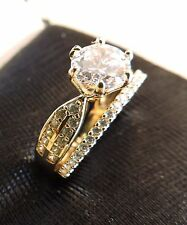 1.70 ct 14k Yellow Gold  Engagement Ring and Wedding Band set size 5 6 7 8 9 10