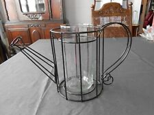 Wire Watering Can Candle Holder/Vase  Black Metal Glass Decor Sculpture Shape