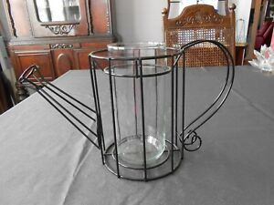 Wire Watering Can Candle Holder/Vase  Black Metal Glass Farmhouse Decor