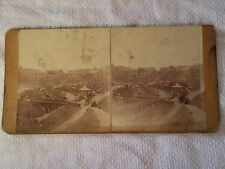 c1880s CLARENCE GARDENS & CLIFFS Scarborough Yorkshire - Stereoview Photo Card