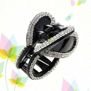 Lurrose 1pc Hair Claw Clips Butterfly Shaped Acrylic Crystal Diamante Hair Cl...