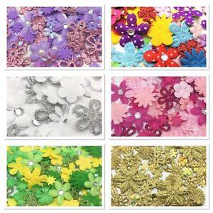 100 MINI FLOWER Embellishments Daisy Cardmaking Topper Craft Paper Scrapbooking