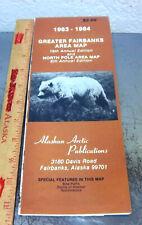 vintage 1983-84 Fairbanks Alaska City Map, great colors & old business ads