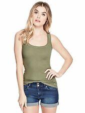 GUESS Tank Women's Slim Fit Racerback Stretch Scoop Tank Top Cami M Olive NWT